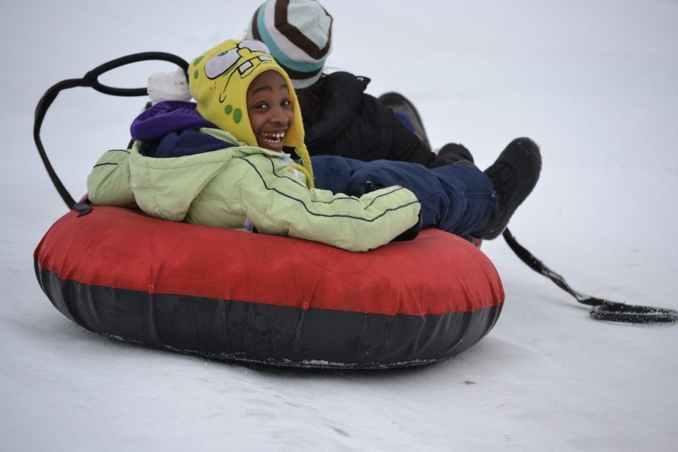 Snow Tube Boy with Spongebob Hat